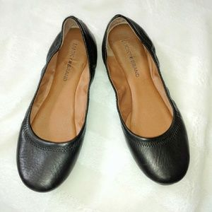 Lucky Brand black leather ballet flats size 9